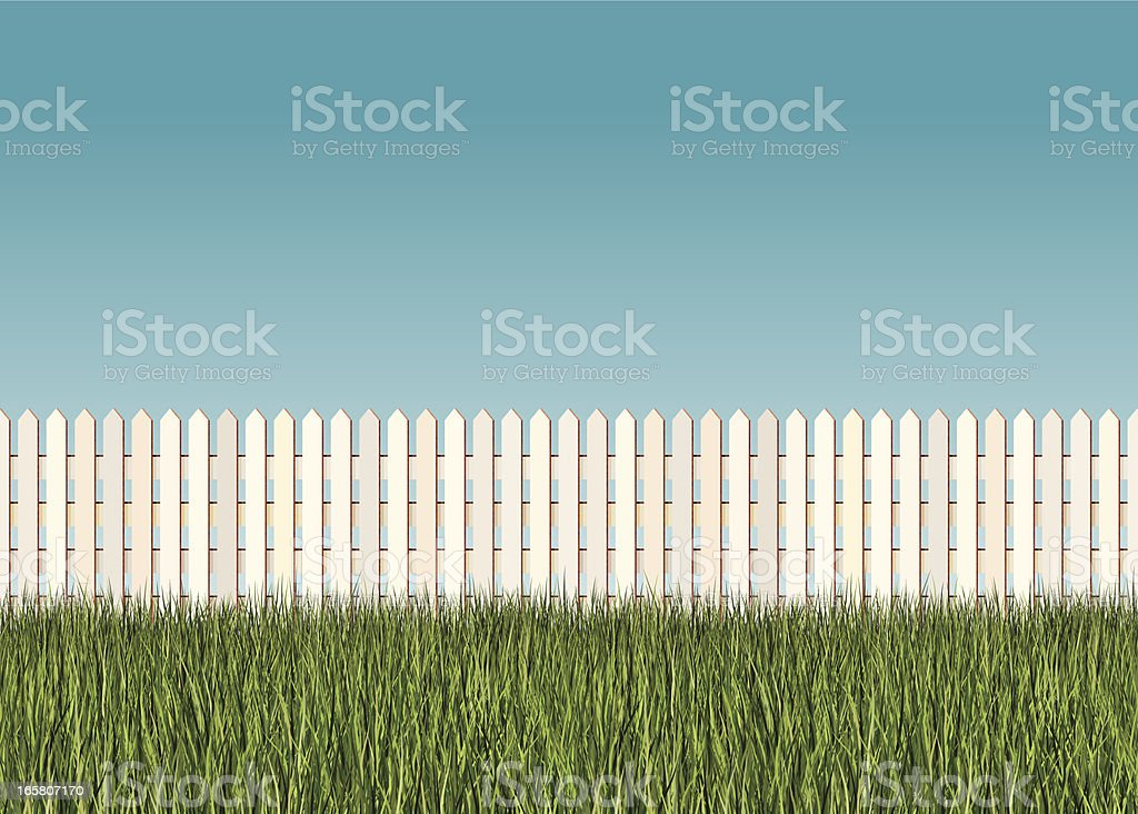 seamless picket fence banner vector art illustration