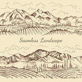 Seamless pictures of nature landscape. Vineyard or countryside illustrations. Vector vineyard and mountain, nature field countryside