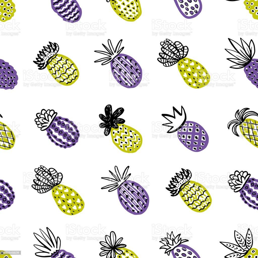 nahtlose ananasmuster handdrawn pinapple mit unterschiedlichen