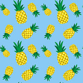 Seamless pineapple pattern illustration, blue background. Perfectly usable for all surface pattern projects.