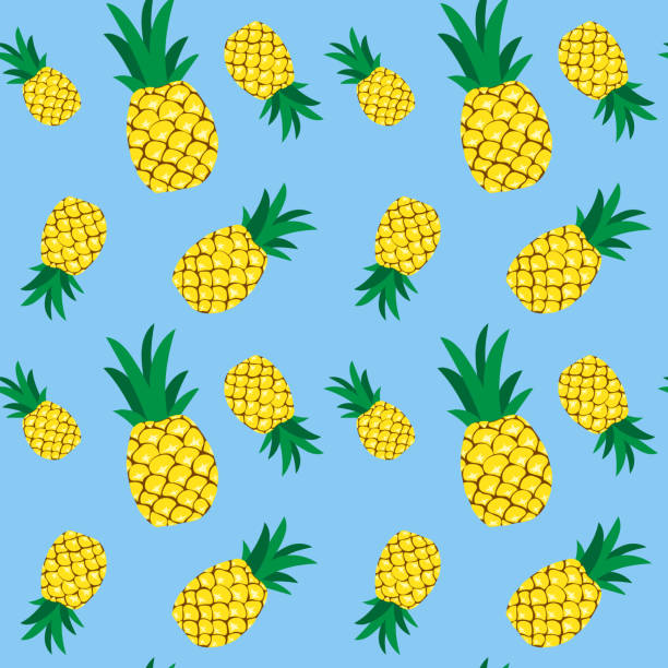 Seamless pineapple pattern illustration, blue background vector art illustration
