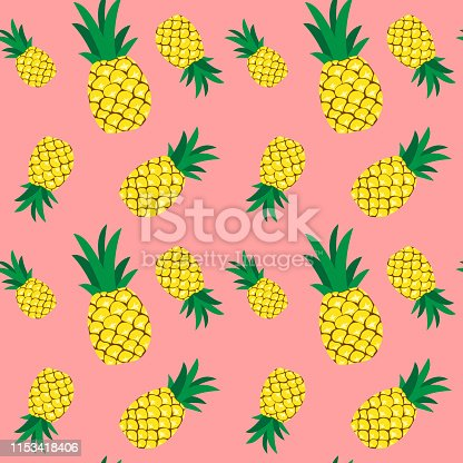 Seamless pineapple pattern illustration, pink background. Perfectly usable for all surface pattern projects.