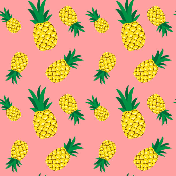 Seamless pineapple pattern illustration, pink background vector art illustration