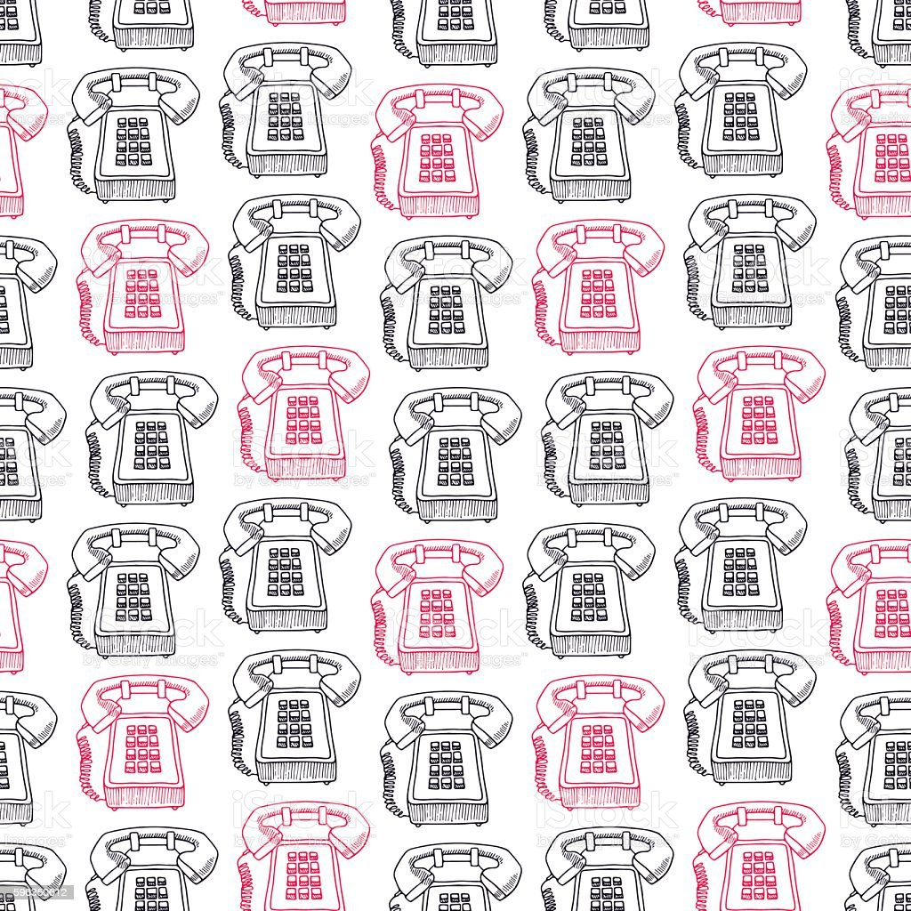 seamless pink and black vintage phones royalty-free seamless pink and black vintage phones stock vector art & more images of animal markings