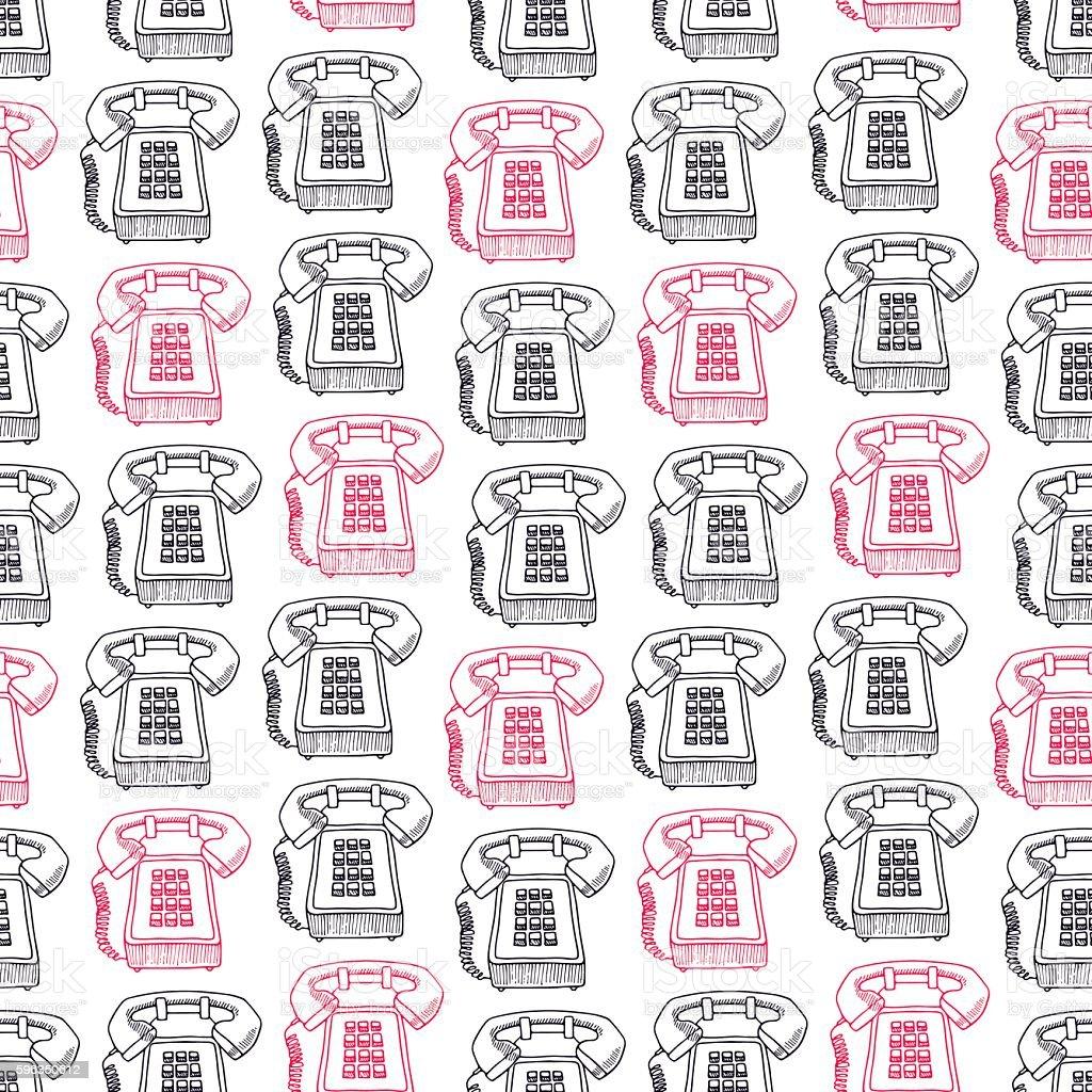 seamless pink and black vintage phones Lizenzfreies seamless pink and black vintage phones stock vektor art und mehr bilder von altertümlich