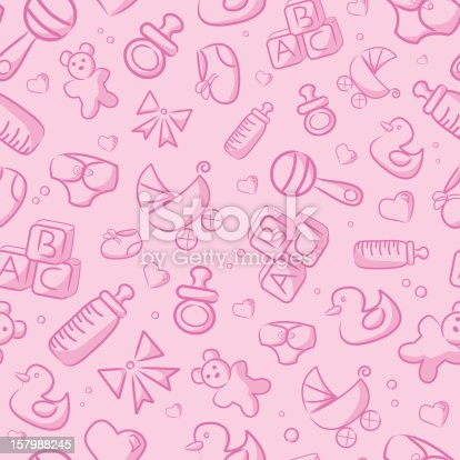 istock Seamless Pink Baby Background 157988245