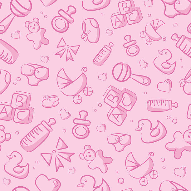 Seamless Pink Baby Background A vector background of pink baby objects. Repeats seamlessly top to bottom and left to right. Global colors used, no gradients. File includes the pattern as a swatch, as well as an extra AICS2 file with the un-cropped shapes. Files included: AICS2, EPS8 and Large High Res JPG. baby girls stock illustrations