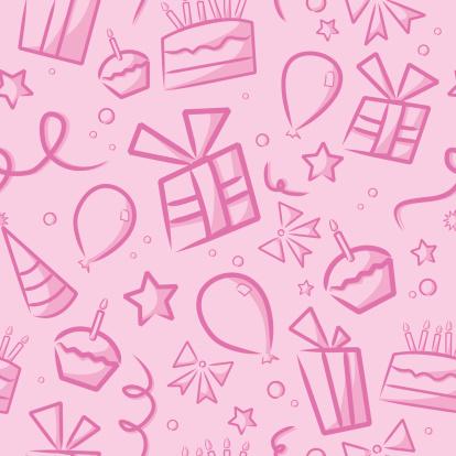 Seamless Pink Birthday Background