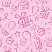 A background for a girl's birthday. Repeats seamlessly from left to right and top to bottom. File includes the pattern as a swatch, as well as an extra AICS2 file with the un-cropped shapes. Files included: AICS2, EPS8 and Large High Res JPG.