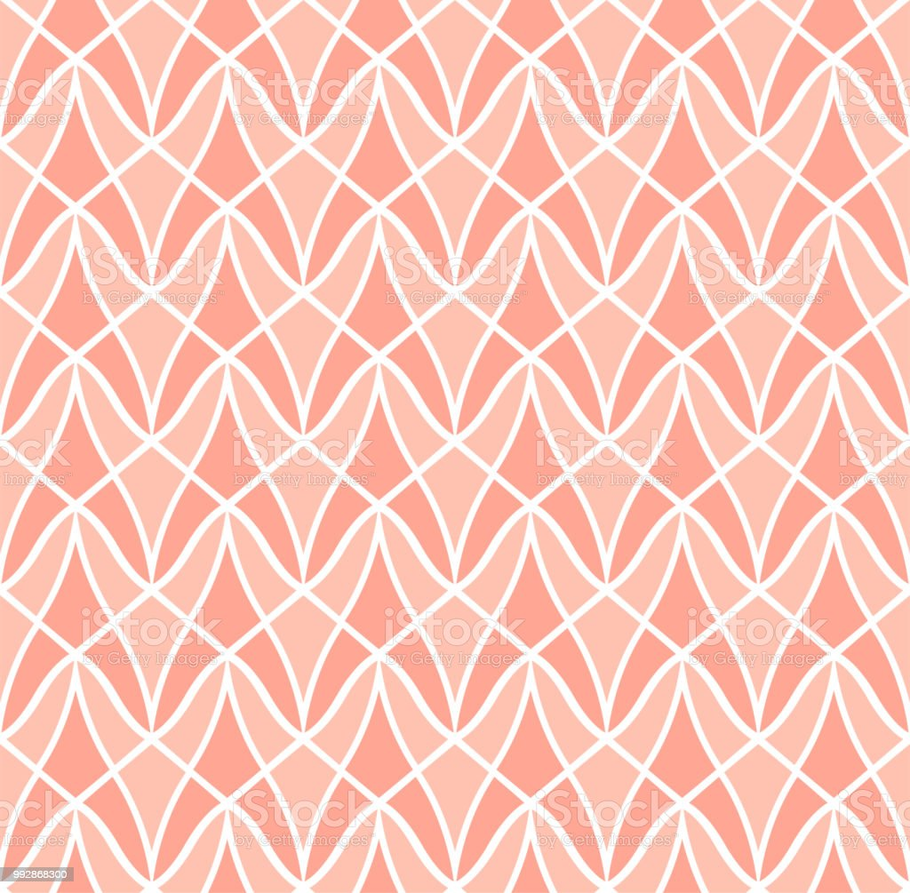 Seamless Pink Geometric Art Deco Pattern Abstract Vector Floral