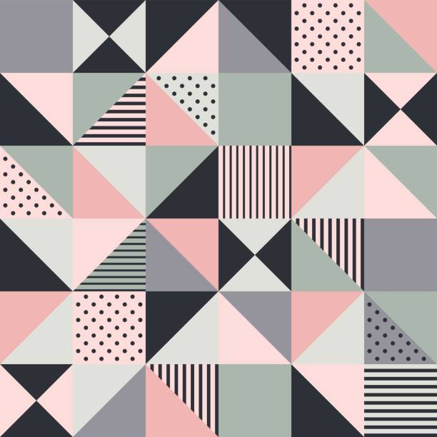 stockillustraties, clipart, cartoons en iconen met naadloze roze geometrische patroon - patchwork