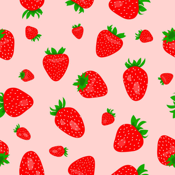 Seamless pink pattern with red strawberries vector art illustration