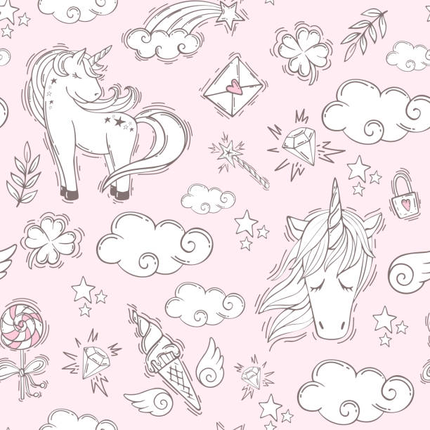 seamless pink pattern with unicorns - unicorn line drawings stock illustrations, clip art, cartoons, & icons