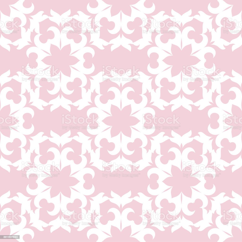 Seamless Pink Pattern With White Wallpaper Ornaments Royalty Free