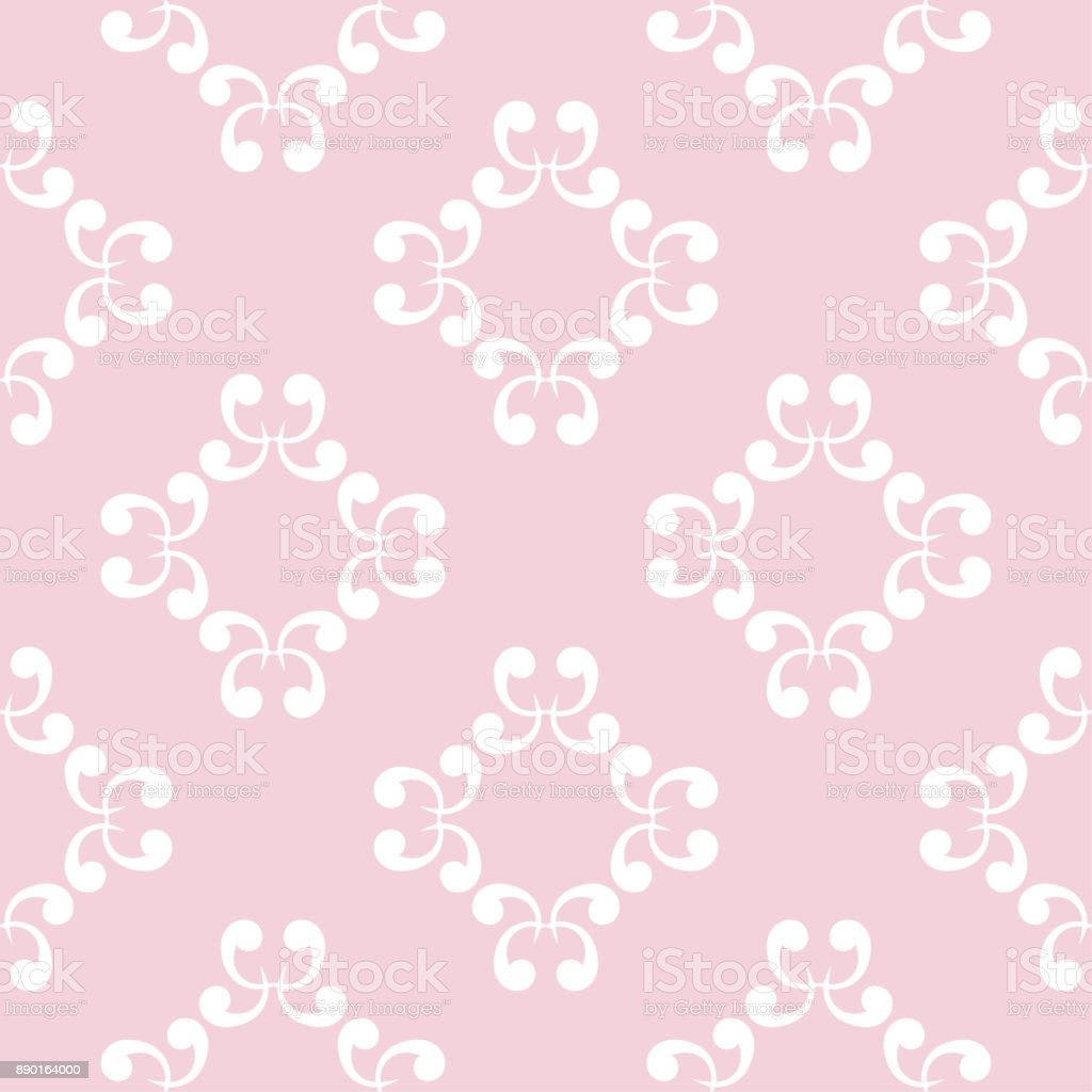Seamless Pink Pattern With White Wallpaper Ornaments Stock Vector Art More Images Of Abstract