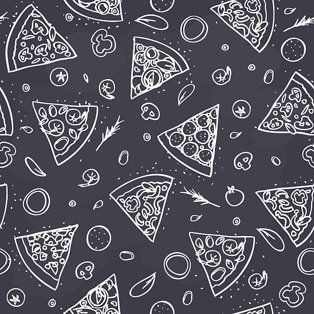 bildbanksillustrationer, clip art samt tecknat material och ikoner med seamless pizza pattern on dark background - pizza