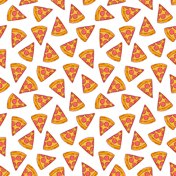 seamless pizza slices vector art illustration