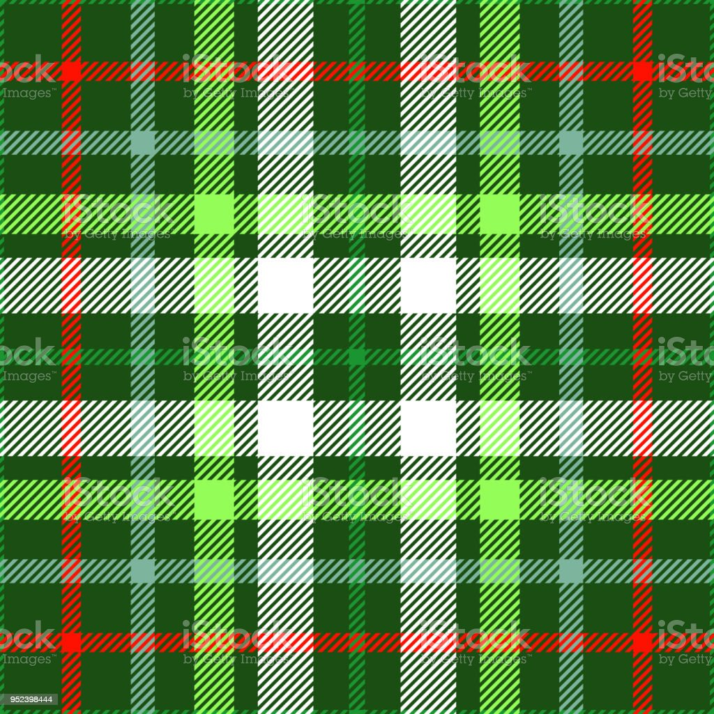 Seamless Plaid Check Pattern In Christmas Color Palette Of Red Green ...