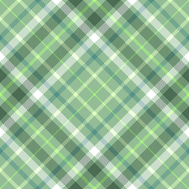 Seamless plaid check pattern in dark green, asparagus green, myrtle and white. Classic fabric texture for digital textile printing. irish culture stock illustrations