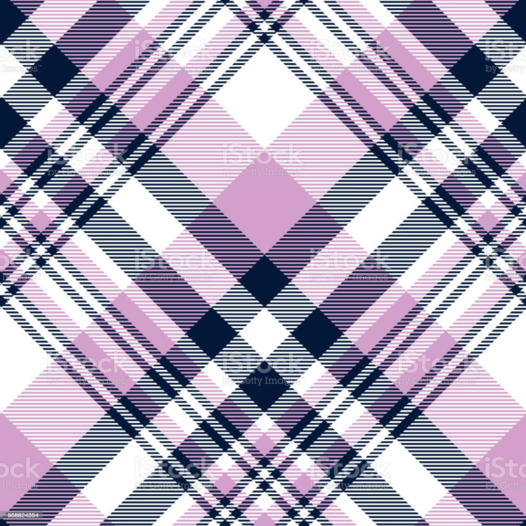 Seamless plaid check pattern in orchid violet,  navy blue and white vector art illustration