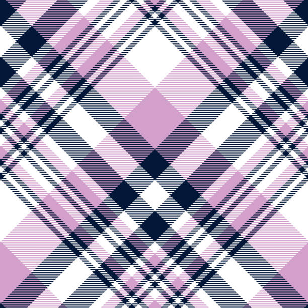 seamless plaid check pattern in orchid violet,  navy blue and white - preppy fashion stock illustrations, clip art, cartoons, & icons