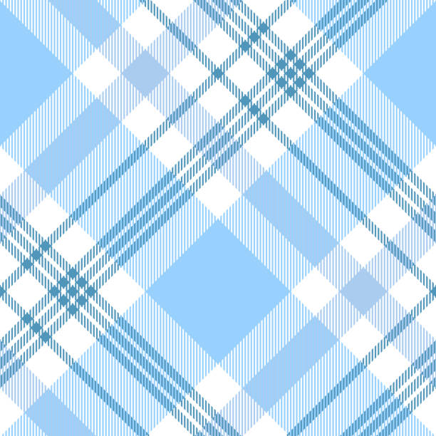 seamless plaid check pattern in pastel blue and white. - preppy fashion stock illustrations, clip art, cartoons, & icons