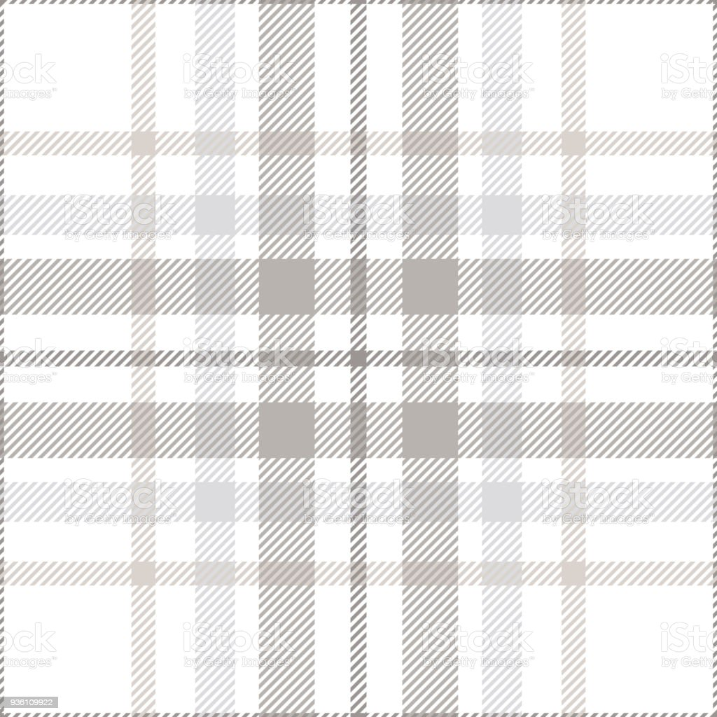 Seamless plaid check pattern in pastel grey, dusty beige and white. vector art illustration