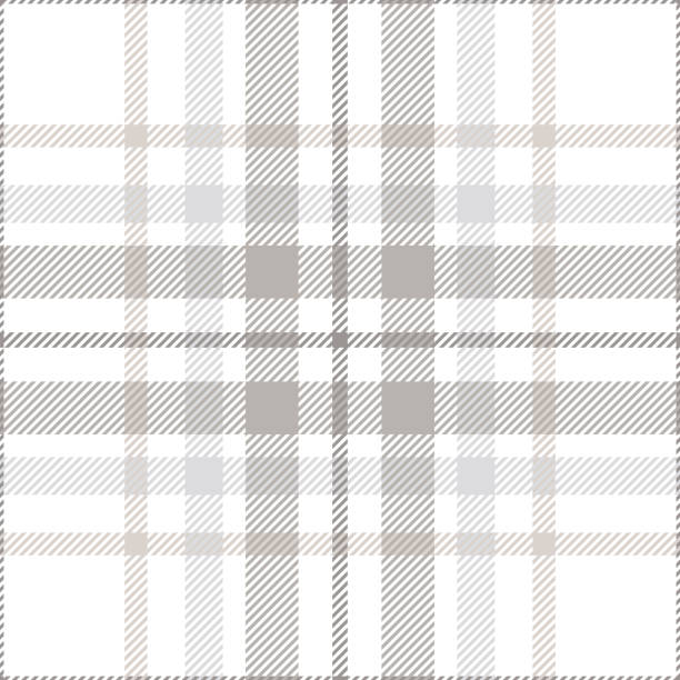 seamless plaid check pattern in pastel grey, dusty beige and white. - preppy fashion stock illustrations, clip art, cartoons, & icons