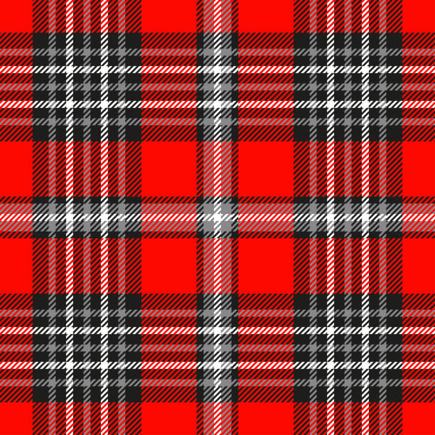 seamless plaid check pattern in red, gray, black and white. - flannel backgrounds stock illustrations, clip art, cartoons, & icons