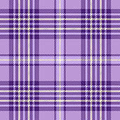 Seamless plaid check pattern in shades of lavender, purple and cream