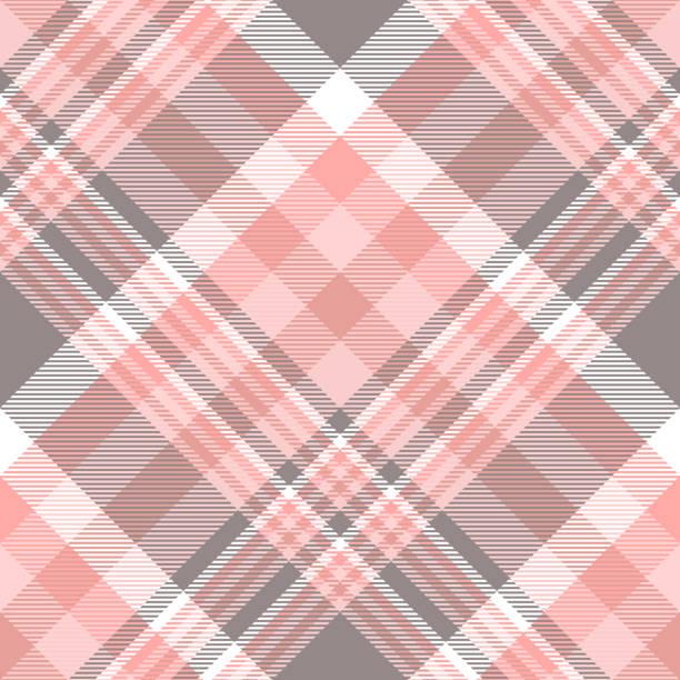 ilustraciones, imágenes clip art, dibujos animados e iconos de stock de estampado de cuadros cuadros transparente en tonos de rosa, gris y blanco. - fondos de franela