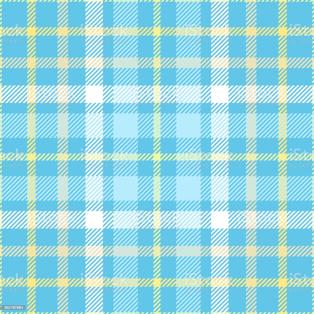 Seamless plaid check pattern in shades of robin egg blue, yellow and white. vector art illustration