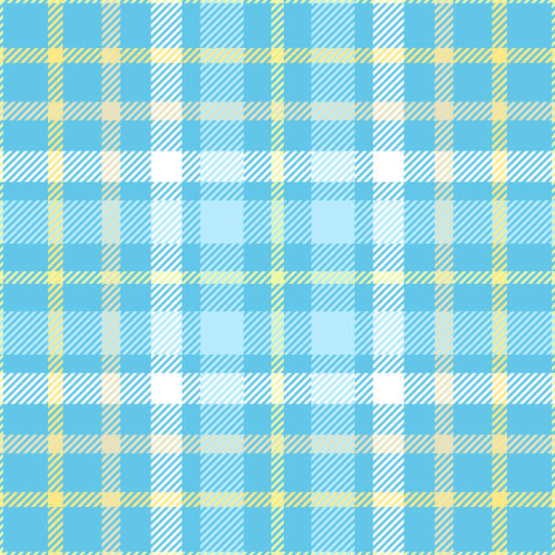 seamless plaid check pattern in shades of robin egg blue, yellow and white. - preppy fashion stock illustrations, clip art, cartoons, & icons