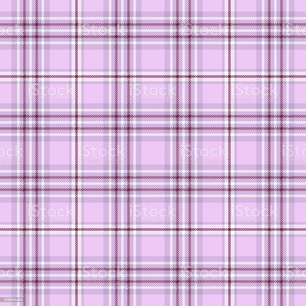 Plaid >> Seamless Plaid Check Pattern In Soft Lavender Pink Maroon And White Stock Illustration Download Image Now