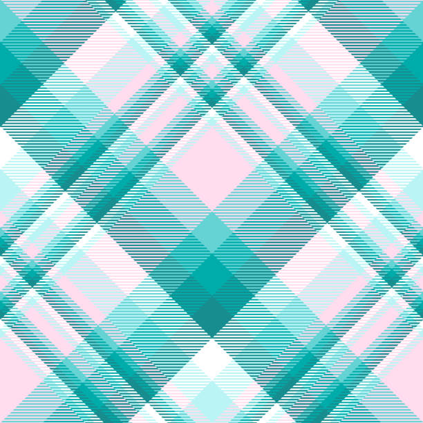 seamless plaid check pattern in teal, aqua green, pink and white. - preppy fashion stock illustrations, clip art, cartoons, & icons