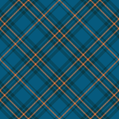 Seamless plaid check pattern in teal blue, dark teal green and orange.