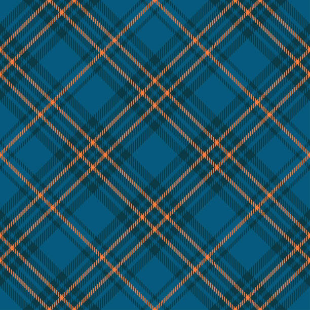 Seamless plaid check pattern in teal blue, dark teal green and orange. Classic fabric texture for digital textile printing. tartan pattern stock illustrations