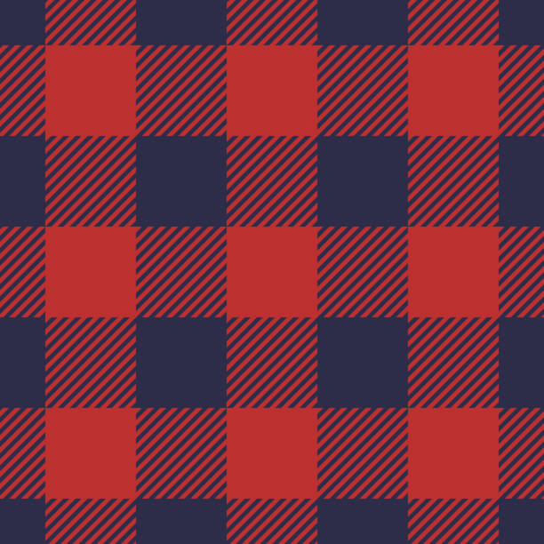 ilustraciones, imágenes clip art, dibujos animados e iconos de stock de sin fisuras patrón de tela escocesa en rayas azules y rojo oscuros. - fondos de franela
