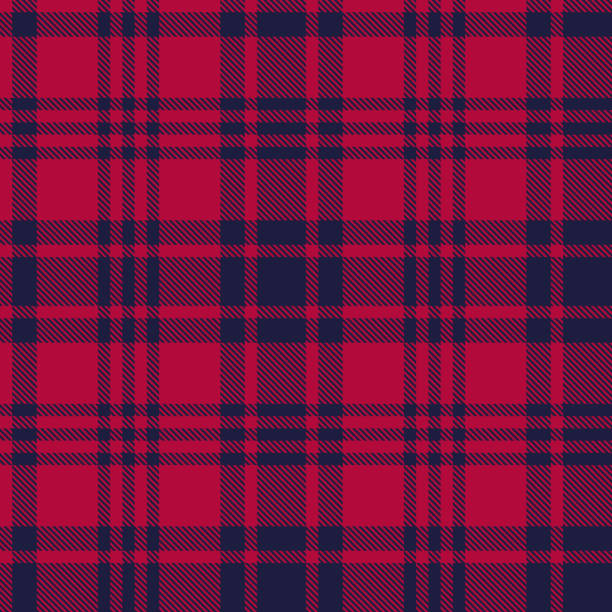 Seamless plaid pattern in dark blue and red stripes. Seamless plaid pattern in dark blue and red stripes.  Checkered fabric texture print. Vector flat illustration. checked pattern stock illustrations