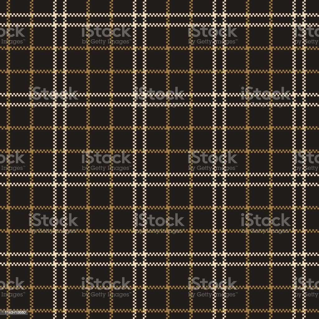 Seamless plaid pattern in gold and grey. Tartan check plaid for...