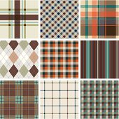"""A collection of retro textile pattern. Series of brown and turquoise. All design are seamless and """"pattern swatches"""" included in file, you can use them directly."""
