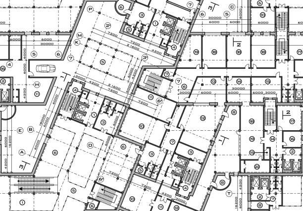 stockillustraties, clipart, cartoons en iconen met naadloze plan van de bouw van de blauwdruk. bovenaanzicht van vector bouwkundige achtergrond - blauwdruk