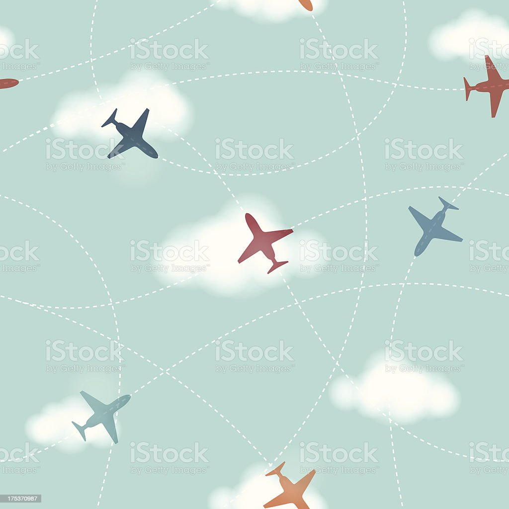 Seamless Planes Background royalty-free stock vector art