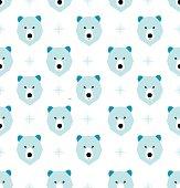 Seamless polar bear and geometric winter christmas pattern
