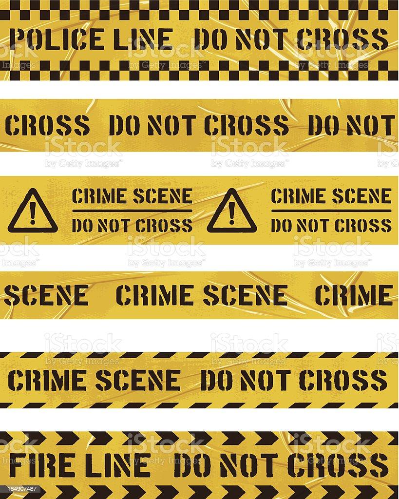 seamless police cordon tapes vector art illustration