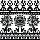 Seamless Polish folk art black pattern Kurpie Papercuts
