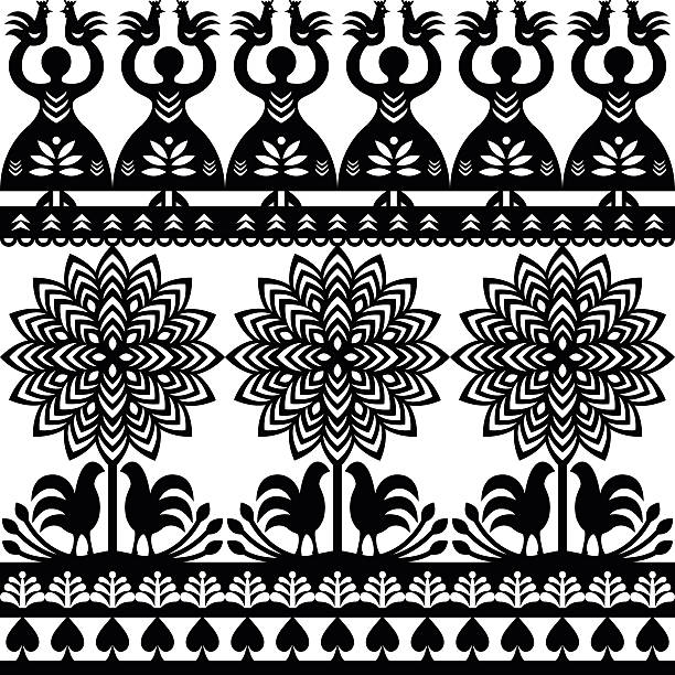 Seamless Polish folk art black pattern Kurpie Papercuts Repetitive monochrome vector folk design from the region of Kurpie in Poland with women, tree, birds polish culture stock illustrations