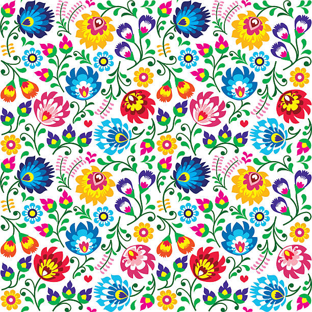 Seamless Polish folk art floral pattern Repetitive background with flowers - Slavic folk art pattern polish culture stock illustrations