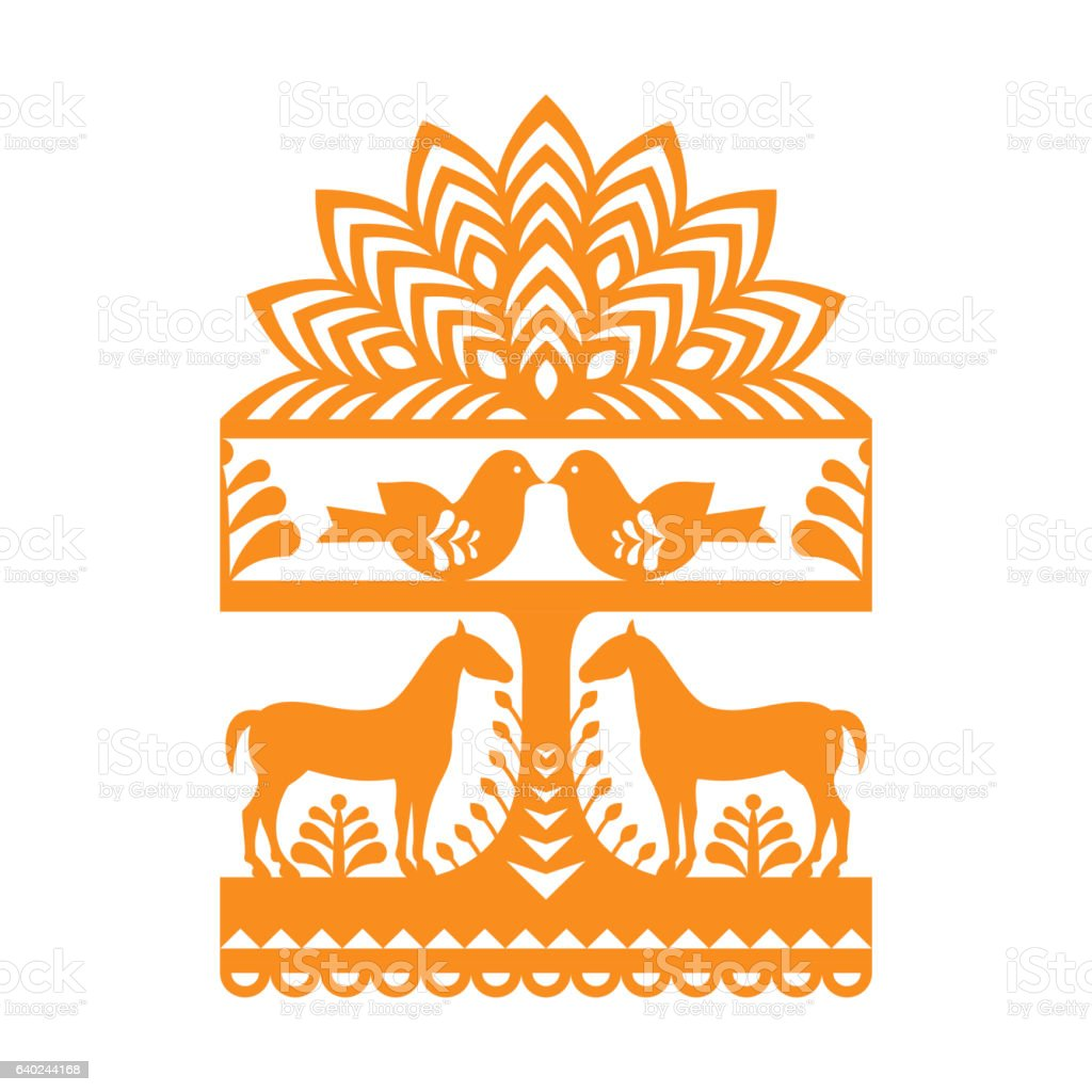Seamless Polish folk art orange pattern Wycinanki Kurpiowskie vector art illustration