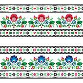 Seamless Polish folk art pattern with flowers